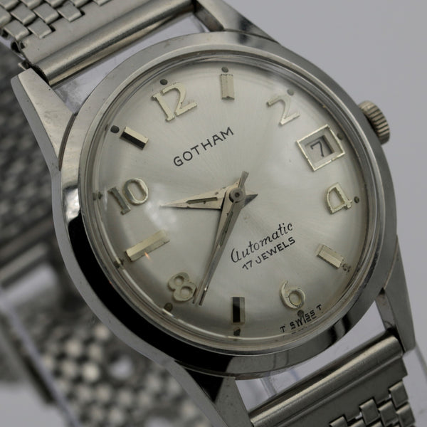 1960s Gotham Men's Silver Automatic 17Jwl Swiss Made Calendar Watch w/ Bracelet