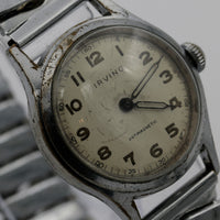 1940s Irving Swiss Made Military Style Men's Silver Watch w/ Bracelet