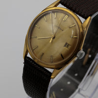 Juvenia Men's Gold 17Jwl Swiss Calendar Slim Watch w/ New DeBeer Alligator Strap