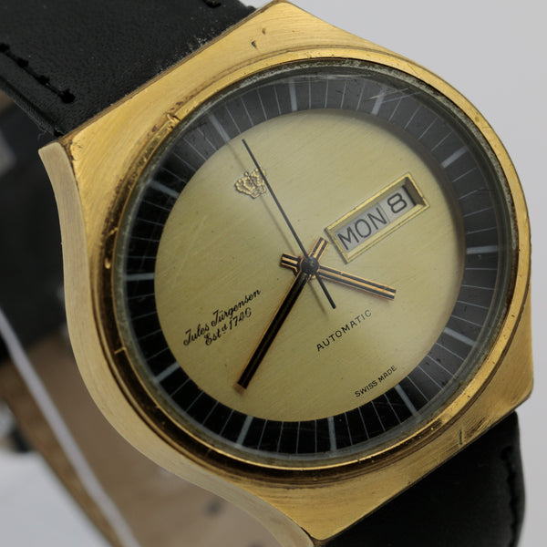 1970s Jules Jurgensen Men's Swiss Made Automatic Dual Calendar Gold Watch w/ Strap