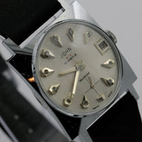 1950s John Hilton Men's 17Jwl Swiss Made Silver Diamond Dial Calendar Watch