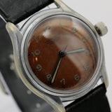 WWII J. Kreuter Men's Swiss Made 17Jwl Copper Dial Military Silver Watch w/ Strap