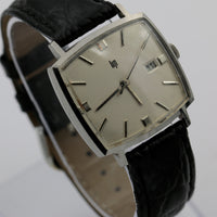 1955 Lip Men's Silver 17Jwl Swiss Made Calendar Slim Watch w/ Spiedel Strap