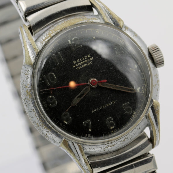 1940s Relide Swiss Made Military Style Men's Silver Watch w/ Bracelet