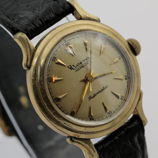 1950s Rivera Men's Gold Automatic Swiss Made Fancy Case Watch