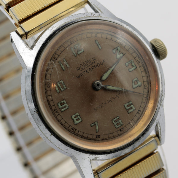 WWII Roamer Men's Swiss Made 17Jwl Breveté Copper Dial Military Gold Watch w/ Bracelet