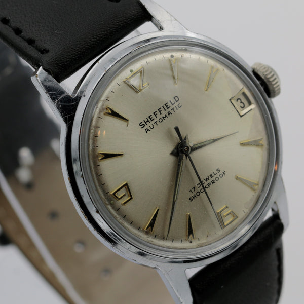 1970s Sheffield Men's Silver Automatic 17Jwl Swiss Made Calendar Watch w/ Strap