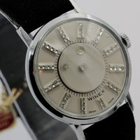 1960s Winex Men's Swiss Made Mystery Diamond Dial Silver Watch w/ Strap