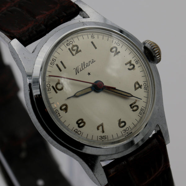 WWII Willens Swiss Made 7Jwl Military Silver Watch