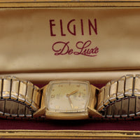 1948 Elgin DeLuxe Men's 10K Gold 17Jwl Made in USA Watch with Original Box