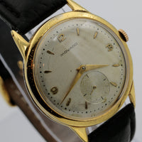 1940s Movado Men's Swiss Made Gold Large Watch w/ Strap