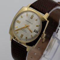 1974 Bulova / Caravelle Gold 17Jwl Swiss Made Calendar Watch w/ Strap
