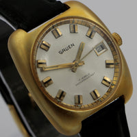 1970s Gruen Men's Made in France Gold 17Jwl Calendar Watch w/ Original Box