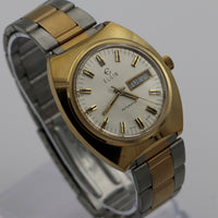 "1976 Elgin ""Pacifica"" Men's Gold Swiss Made Automatic 17Jwl Watch w/ Original Box"