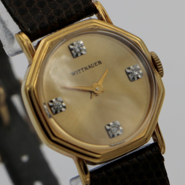 New Wittnauer Ladies Gold Diamonds Octagon Swiss 17Jwl Watch w/ Original Box