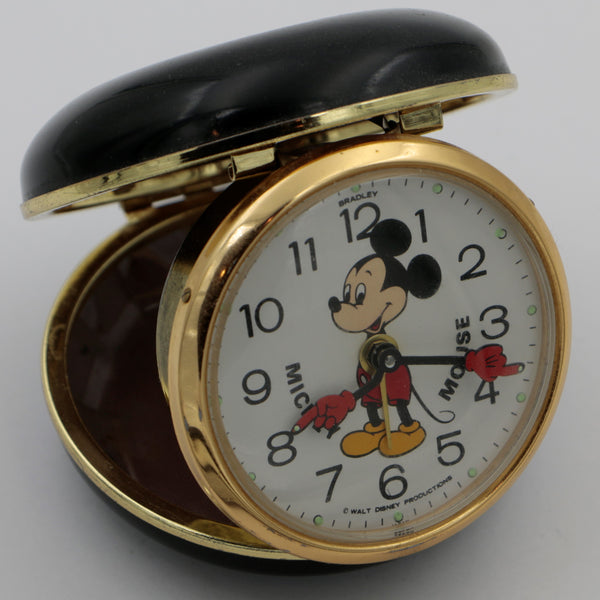1970s Bradley Mickey Mouse Gold Alarm Clock - Walt Disney Production - Very Rare