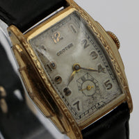 1930s Croton Men's Swiss Made 7Jwl Gold Engraved Bezel Watch w/ Original Box