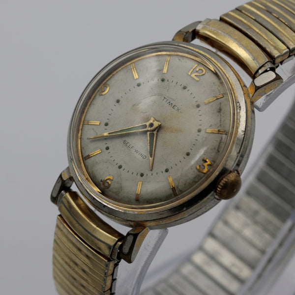 bb0ee9620 ... 1950s Timex Men's Gold Automatic Interesting Large Dial Watch w/  Bracelet ...