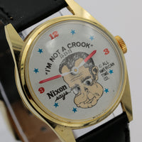 "1973 Nixon Says: ""I'm Not A Crook"" Mooving Eyes Gold Watch by All American Time"