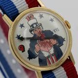 1970s Uncle Sam Election Vote Gold Calendar Watch w/ Strap