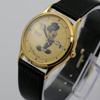Seiko Mickey Mouse Magician Men's Calendar Gold Quartz Watch w/ Original Box