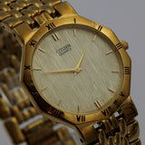 Citizen Men's Quartz Gold Ultra Thin Watch w/ Gold Bracelet