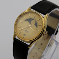 Seiko Men's Quartz Gold Moonphase Calendar Watch w/ Original Strap