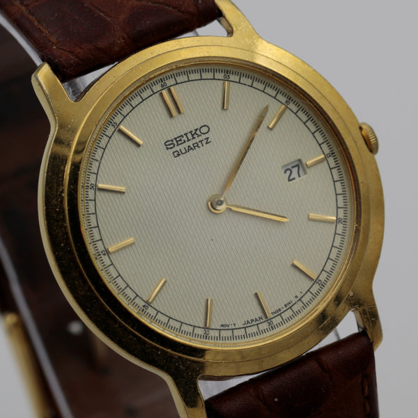 Seiko Men's Gold Quartz Unique Dial Calendar Watch w/ Strap