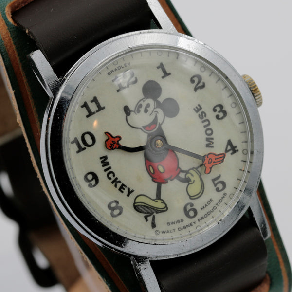 1970s Bradley Pie-Eyed Mickey Mouse Men's Swiss Made Silver Watch w/ Strap