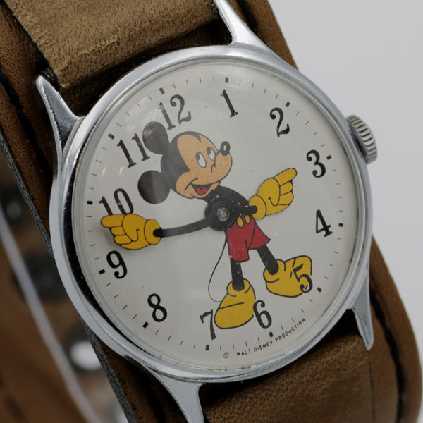 1969 Ingersol-Timex Mickey Mouse Men's Silver Watch w/ Fancy Strap