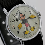 1970 Ingersol-Timex Mickey Mouse Silver Watch w/ Military Strap