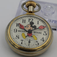 1970s Bradley Mickey Mouse Gold Pocket Watch - Walt Disney Production - Made in USA