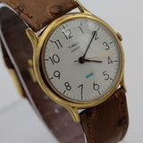 Timex Men's Gold Large Dial Quartz Watch w/ Ostrich Strap