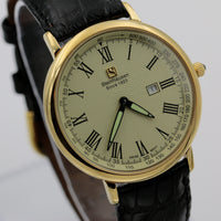 Steinhausen Men's Swiss Quartz Gold Ultra Thin Watch w/ Genuine Alligator Strap