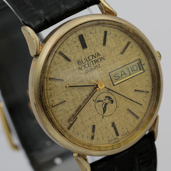 1982 Bulova Accutron 10K Gold Men's Dual Calendar Quartz Watch
