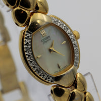 Citizen Ladies Quartz Gold Pearl Dial Diamonds Watch w/ Gold Bracelet