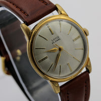 Louis Men's Swiss Made 25Jwl Gold Sunburst Dial Interesting Case Watch w/ Strap