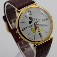 Seiko / Pulsar Mickey Mouse Men's Calendar Gold Large Quartz Watch w/ Strap
