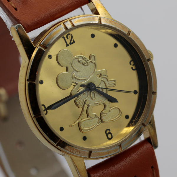 Mickey Mouse Gold Mirror Dial Quartz Watch w/ Stylo Strap