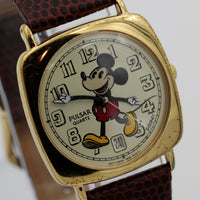 Seiko / Pulsar Mickey Mouse Men's Calendar Gold Quartz Watch w/ Lizard Strap