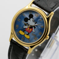 Seiko / Lorus Mickey Mouse Men's Blue Dial Gold Quartz Watch w/ Strap