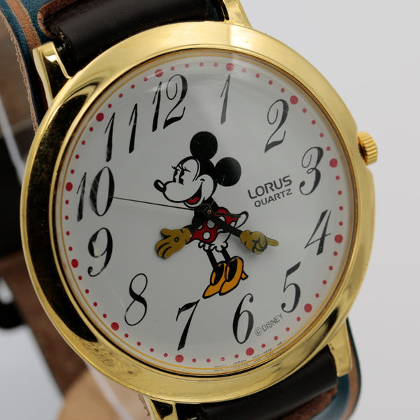 Seiko / Lorus Minnie Mouse Men's Gold Quartz Ultra Thin XL (44mm!) Watch w/ Strap