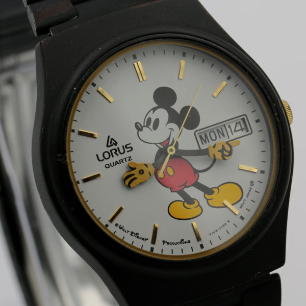 Seiko / Lorus Mickey Mouse Dual Calendar Quartz Gold Watch w/ Strap