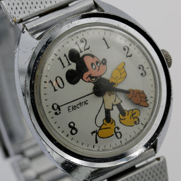 1971 Mickey Mouse Timex Men's Electric Silver Large Watch w/ Bracelet
