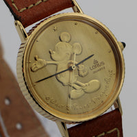 New Seiko / Lorus Mickey Mouse Gold Quartz Watch w/ Original Box