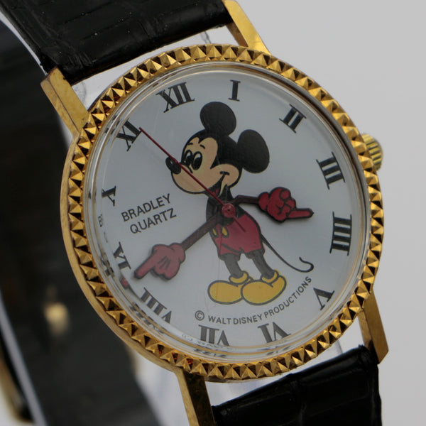 Bradley Mickey Mouse Men's Gold Limited Edition Quartz Swiss Made Watch w/ Box