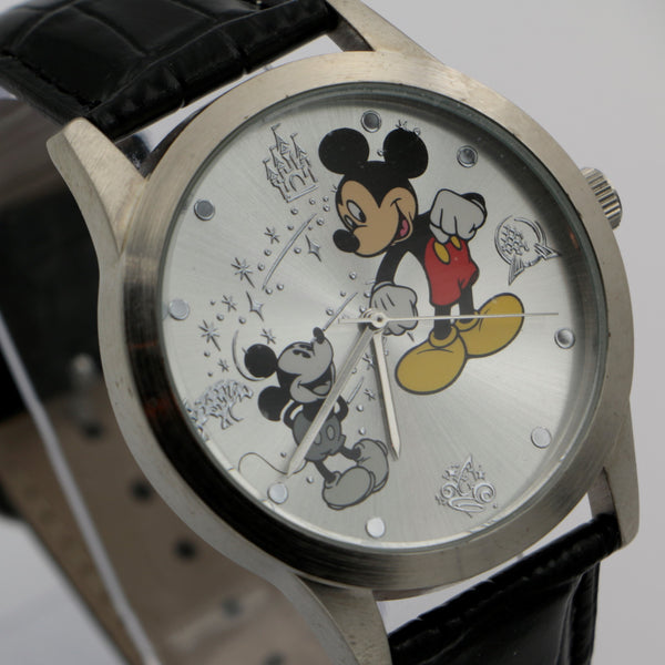 "New Collectable Mickey Mouse Men's Silver ""Mickey Through The Years"" Quartz Watch"