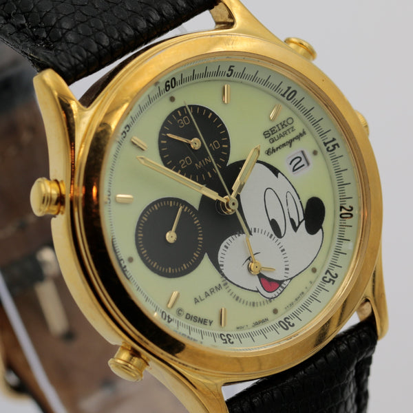 Seiko Mickey Mouse Men's Calendar Chronograph Alarm Gold Quartz Watch w/ Original Strap