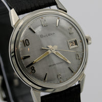 "1967 Bulova ""President"" Men's Silver 17Jwl Automatic Swiss Made Watch w/ Strap"