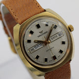 Waltham Men's Swiss Made Dual Calendar 17Jwl Gold Watch w/ New Pigskin Strap